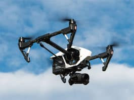 Quadcopter drone with a camera attached