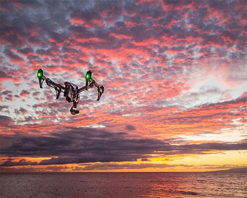 Drone shooting a video at sunset